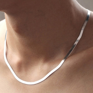 Fashion 50cm men necklace 925 Sterling silver jewelry Quality blade flat Snake Clavicle chain necklace for