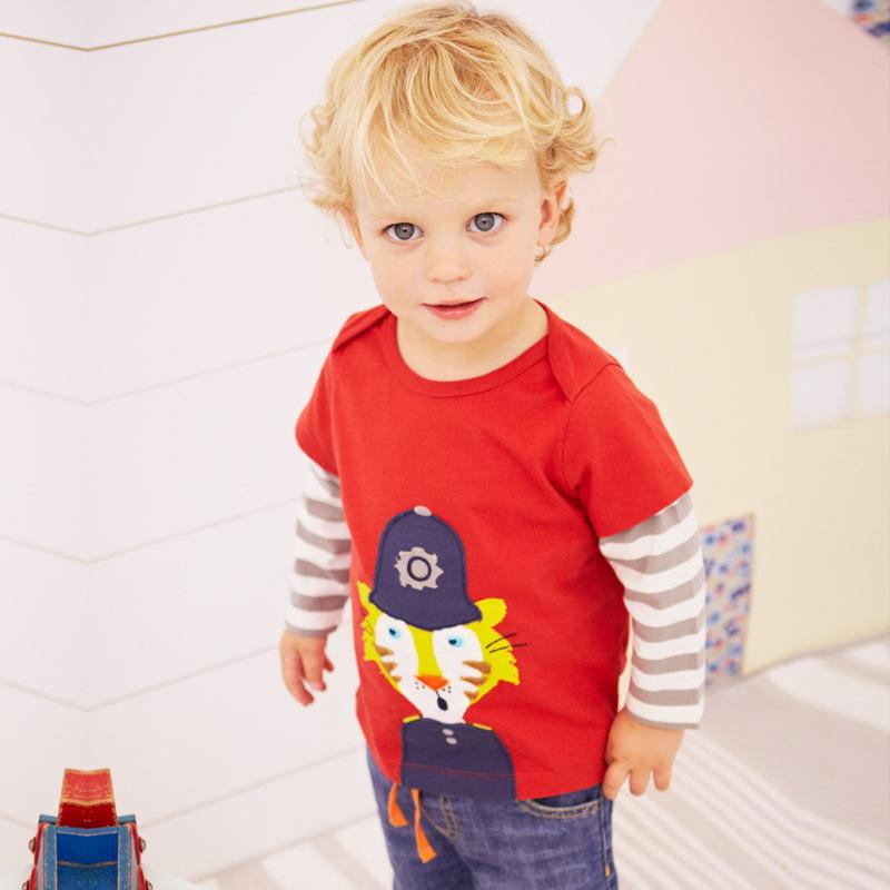 T-Shirts For Boys Clothing18M-7Years Cotton Full Red Blue Cartoon Girls T Shirt Dinosaur Spring Baby Clothes Mini Rodini(China (Mainland))