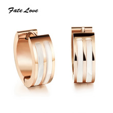 Classic  Hoop Earings Jewelry Rose Gold /Gold Plated Hoop Earrings Shell Filled  for Men Stainless Steel High Quality  FL290(China (Mainland))