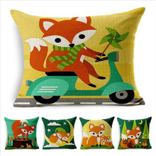 Cartoon Style Fox Square Throw Pillow Cushion