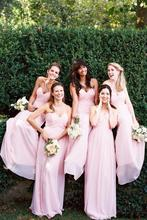 Buy Cheap Pink Bridesmaid Dresses Long Sleeveless Strapless Folds Chiffon Bride Bridesmaid Gown Bridesmaids Dress Robe De Soiree for $74.05 in AliExpress store