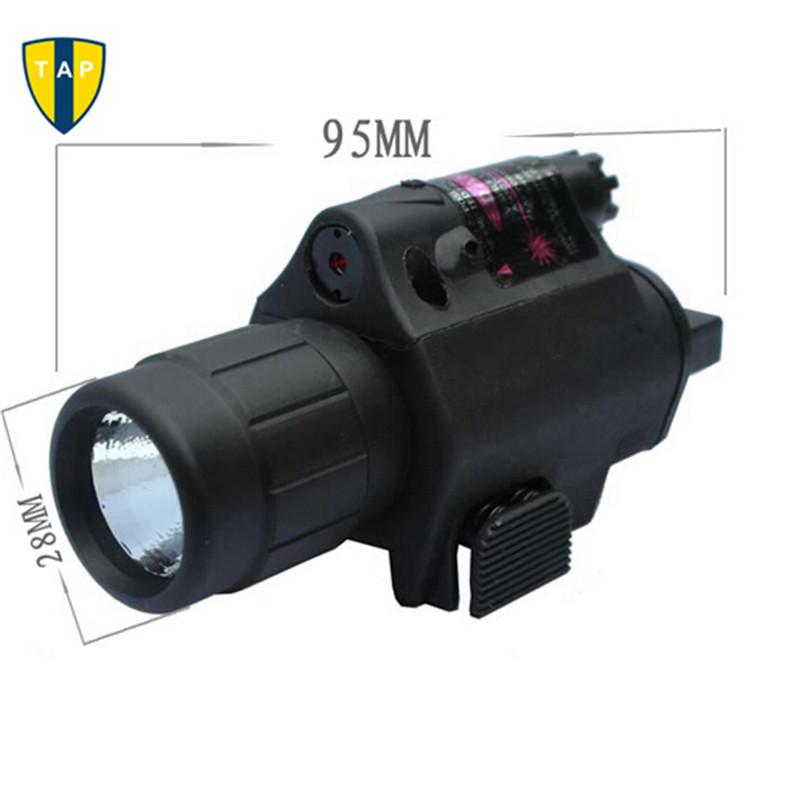 2in1 Hunting Tactical CREE LED Flashlight LIGHT+Red Dot Laser Sight Combo for Shotgun Glock 17 19 22 20 23 31 37 Pistol Rifle(China (Mainland))