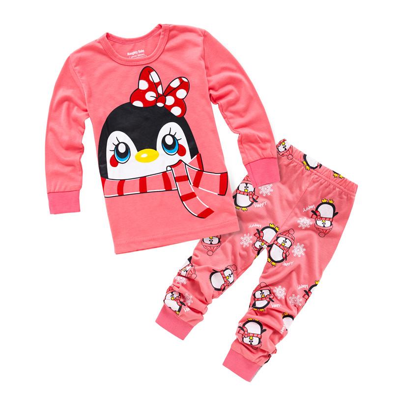 Children Christmas Clothes Underwear Kids Pijamas Boys Girls Penguin Pajamas Sets Baby Full Sleeve Sleepwear Nightwear(China (Mainland))