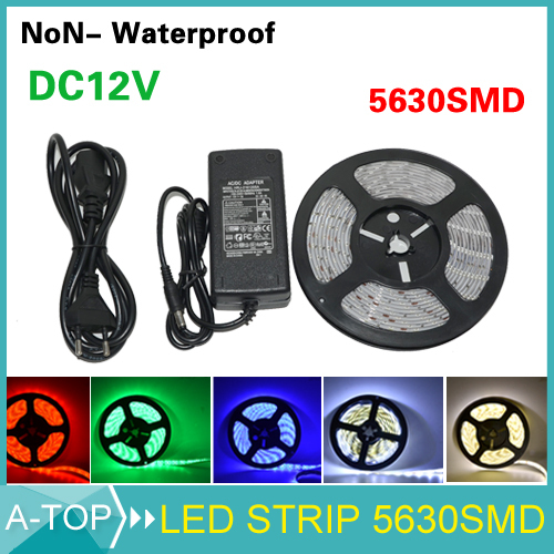 2015 New 6 clors 5630 SMD LED Strip flexible light 12V Non Waterproof 60Led/M lamps + AC100-240V TO DC 12V 3A 36W Power Supply(China (Mainland))