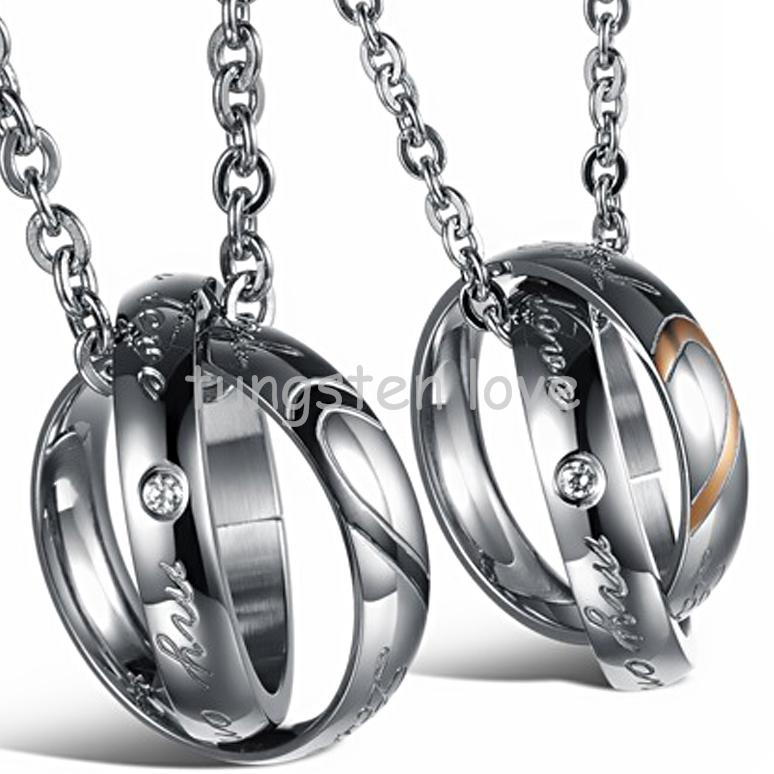 """New Arrivals Lover half heart Necklace For Couples """"Real Love"""" Double Circle Stainless Steel For Mens Ladies Couple Necklace(China (Mainland))"""