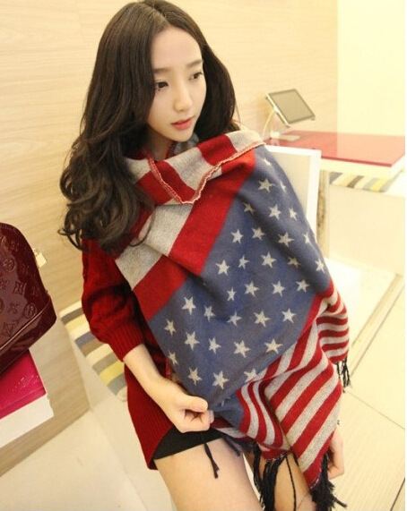 Cashmere Wool American Flag Scarf Women Brand Designer Shawls And Scarves For Winter Thick Desigual Cotton Caps blanket Plaid(China (Mainland))