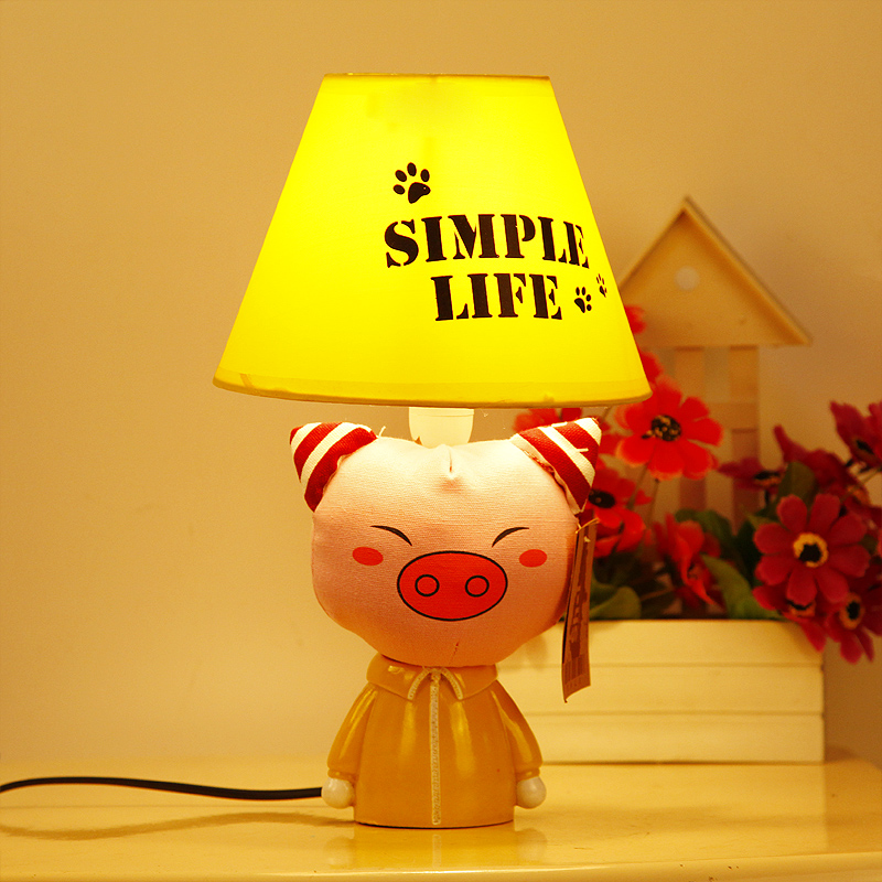 Cottage brief rustic small table lamp fabric cartoon bedroom lights bed-lighting child light lovely pig