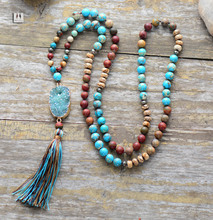 Buy Luxury Women Necklace Natural Stone Bling Druzy Long Tassel Necklace Women Statement Necklace Gift Wholesale Boho Necklace for $20.75 in AliExpress store