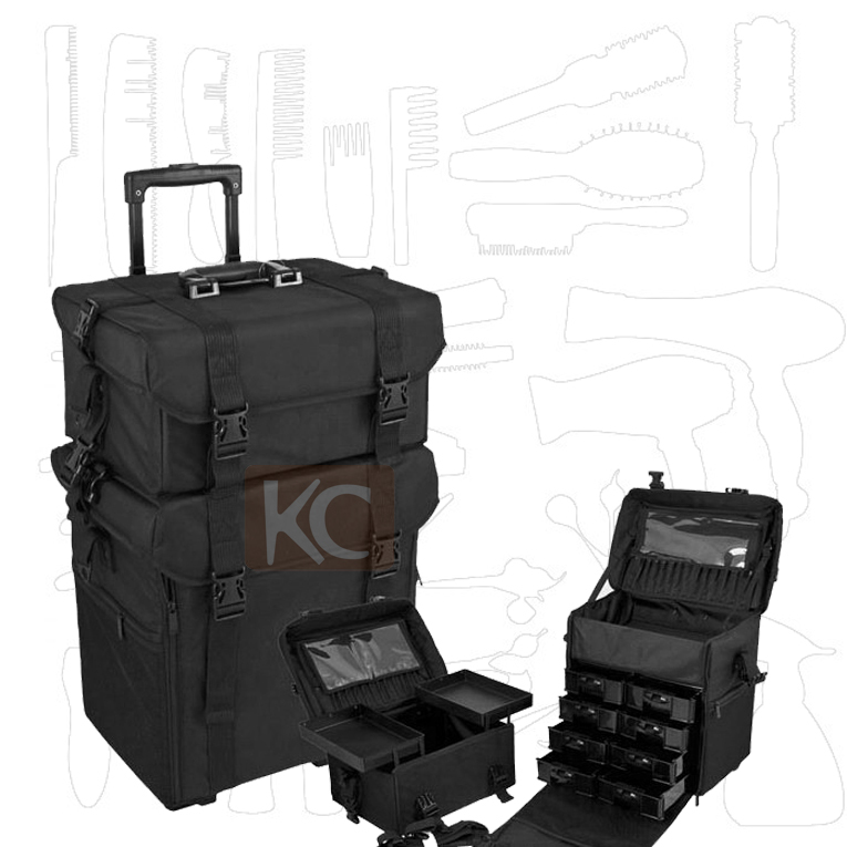 Freeshipping to Singpore, Japan and other Asia countries, 2in1 Nylon cosmetic trolley case, salon/makeup nylon case with drawers(China (Mainland))
