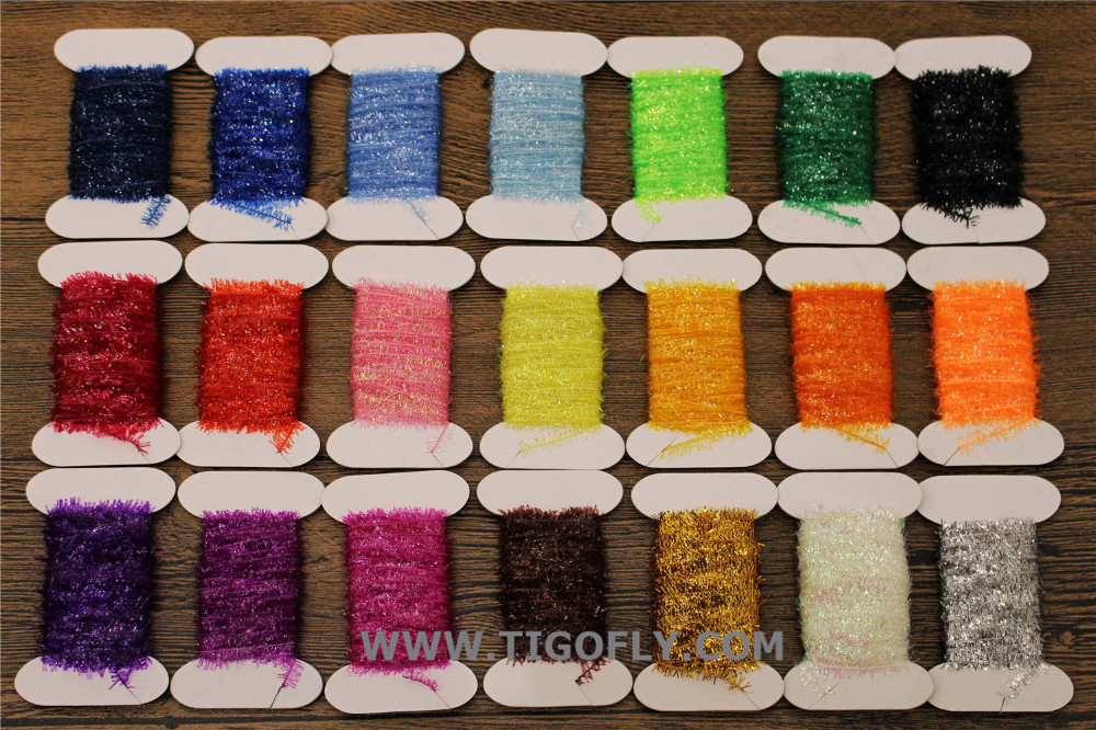 Free Shipping!! 21 Assorted Colors Fly <font><b>Fishing</b></font> Tinsel Chenille Crystal Flash Line fly tying material