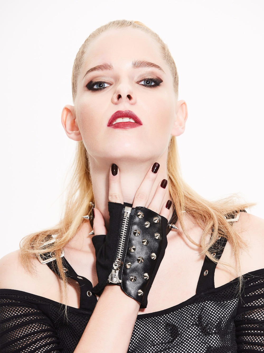 Fingerless Stud Metal Skull+chain Cycling Rock Gothic Punk Style Gloves for Fall