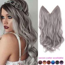 20'' inch grey silver hair no clip hair extension brazilian natural wave invisible synthetic hair extension flip in fantasy hair(China (Mainland))