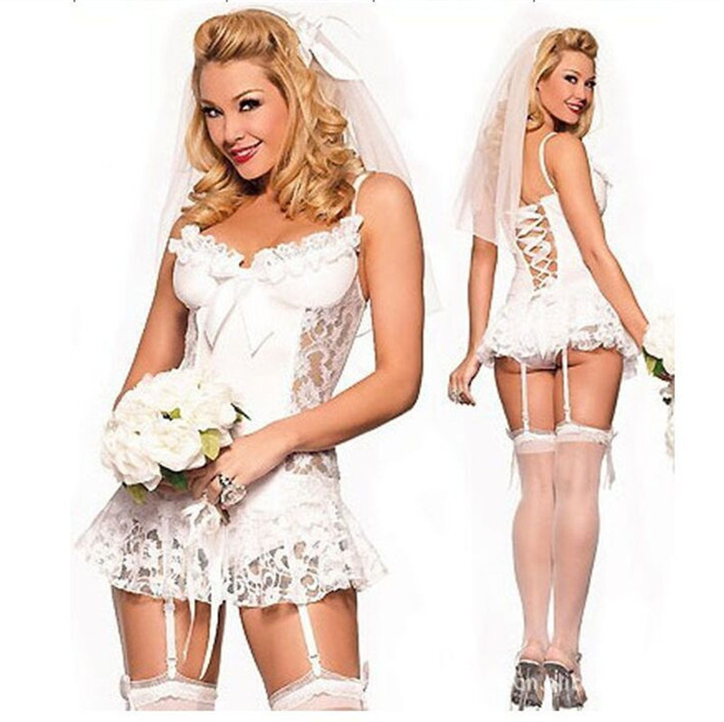 European American White Lace Bridal Wear Wedding Dress Sexy Lingerie Set Sexy Game Costume Cheap Lingerie(China (Mainland))