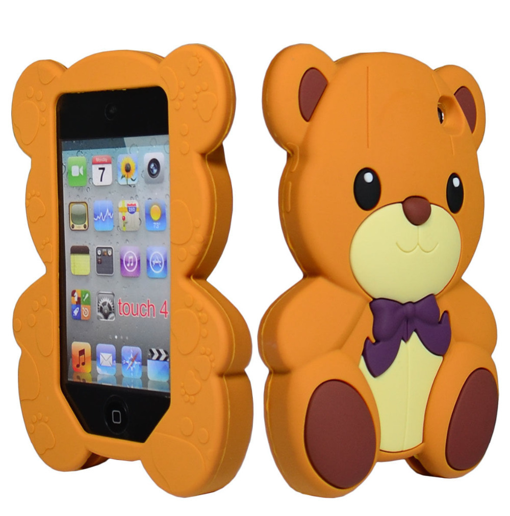 Cute 3D Brown Bear Animal Silicone TPU Case Cover for iPod Touch 4th Generation(China (Mainland))