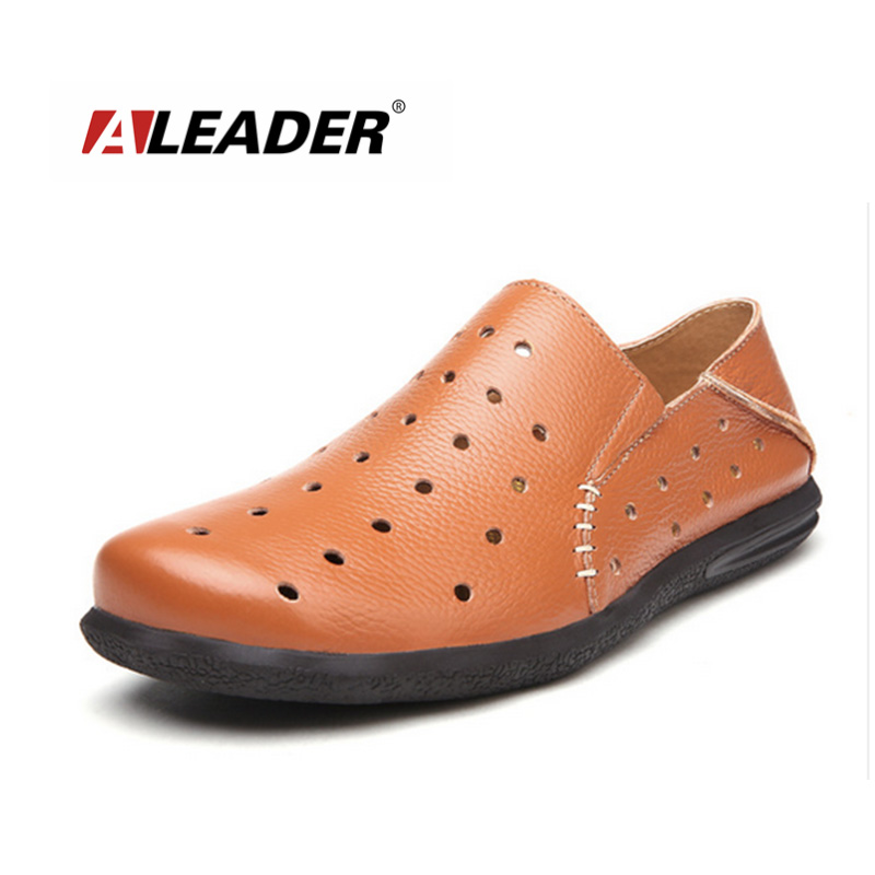 Mens Casual Loafers Fashion Genuine Leather Shoes 2015 Spring Summer Slip Driving Moccasins Man Flats - Aleader Brand Flagship Store store