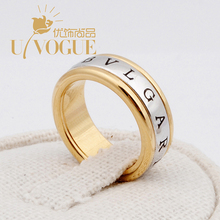 New UVOGUE Brand Jewelry Wholesale18K Real Gold Plated Punk Style Wide Gross Vintage Alphabet Wedding Engagement Women Rings(China (Mainland))