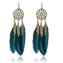 2016 Dream Catcher Hollow out Vintage Leaf Feather Dangle Earrings For Women Bohemia Style Earring Lady's Ethnic Indian Jewelry(China (Mainland))