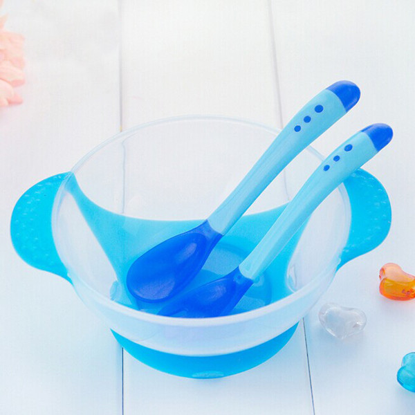 New 1Set/3Pcs Baby Spoon Bowl Learning Dishes With Suction Cup Assist food Bowl Temperature Sensing Spoon Baby Tableware(China (Mainland))