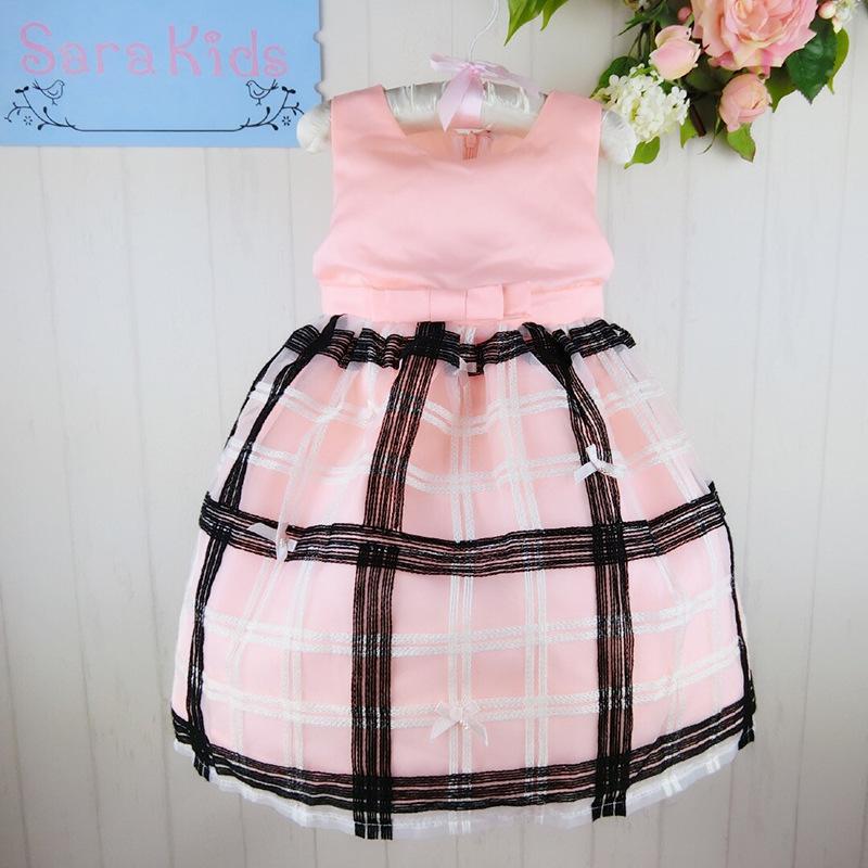 Wholesale two pattern kid girls dress bowknot sashes party dress   Size:3-8 6pcs/1lot   20140620