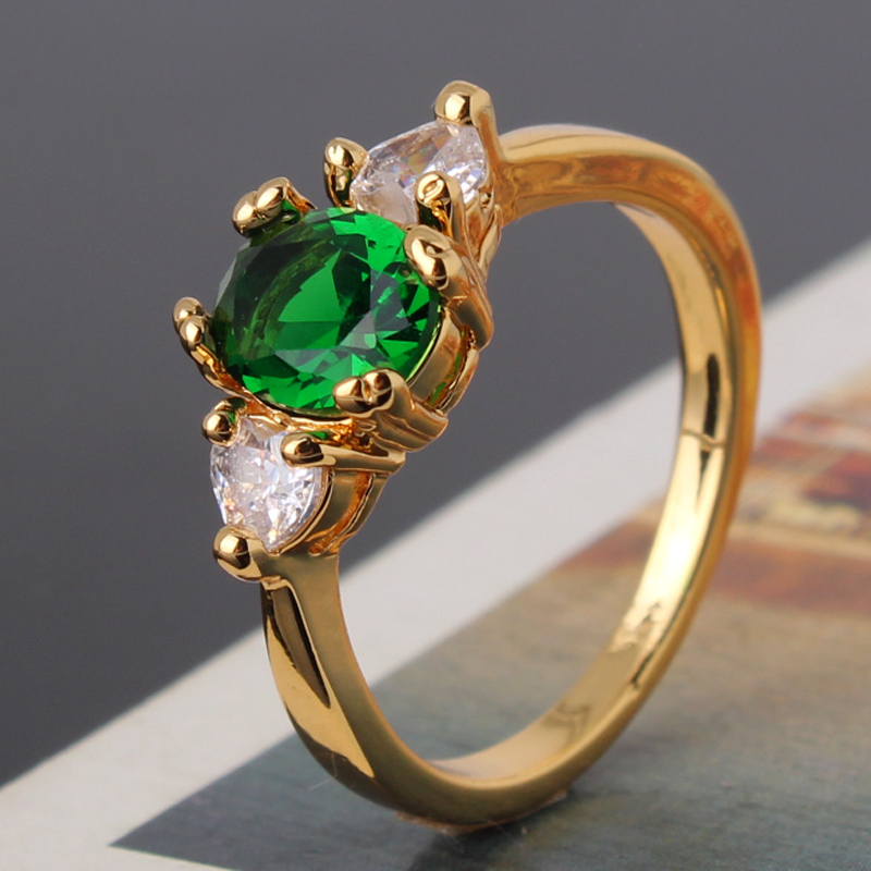 2014 New Fashion Jewelry Green White Crystal Zircon Emerald Rings For Women Party Fashion Jewelry Ring