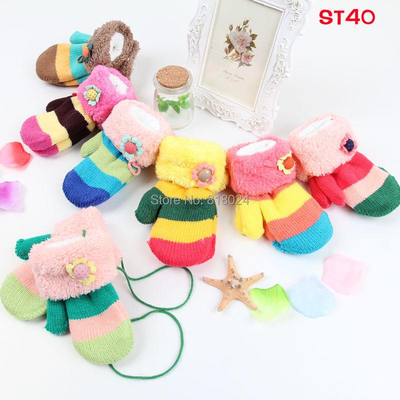 8pairs/lot Hot Sell Kids Girls Kid Children Winter Warmer Flower Pattern Velvet Mitten Gloves New for 1-4T Free Shipping(China (Mainland))