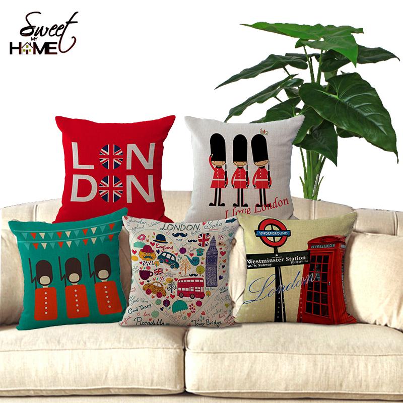45x45cm UK London phone booth bus models linen cushions London for sofa car decorative almofadas cojines decorative pillows(China (Mainland))