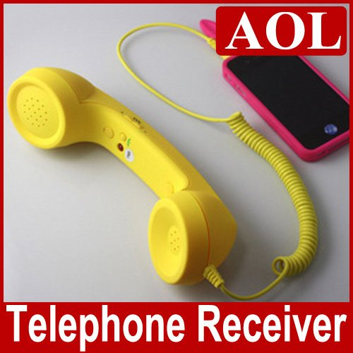 Hot sale Anti-Radiation Portable Retro Mobile Headphone HD MIC 3.5 mm Classic POP Phone Handset for iphone free shipping(China (Mainland))