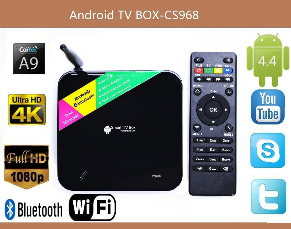Quad Core Android TV Box CS968 1080P HDMI XBMC 2G + 8G Smart TV Box RK3188 Receiver HDMI Media Player With Remote Control(China (Mainland))