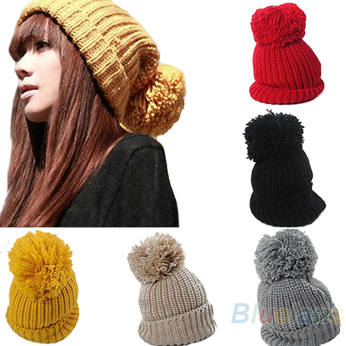 Hight Quality 2013 Women's Winter Slouch Knit Cap Warm Oversized Cuffed Beanie Crochet Ski Bobble Beanies knitting wool Hat 05CC(China (Mainland))