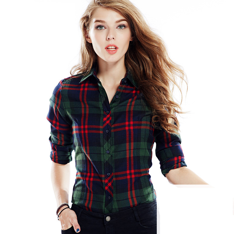 Long sleeve checked shirt women ladies checkered shirt Womens red plaid shirts blouses