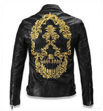 Plus Size 4XL 5XL Skulls Men Natural Sheepskin Genuine Leather Jacket Suede Winter Jackets Men Free Shipping(China (Mainland))