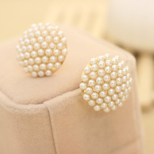 Female Popular White Beads Simulated Pearl Mushroom Shape Stud Earrings for Women Jewelry(China (Mainland))