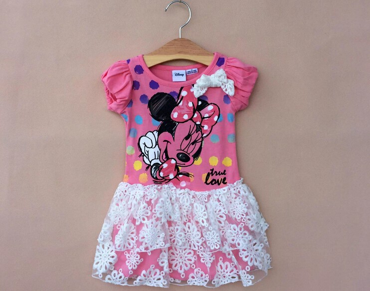 Pink Color  2-4 yrs girl lace decoration minnie mouse cartoon dress girl nice summer cotton dress free shipping 6 pieces/lot<br><br>Aliexpress