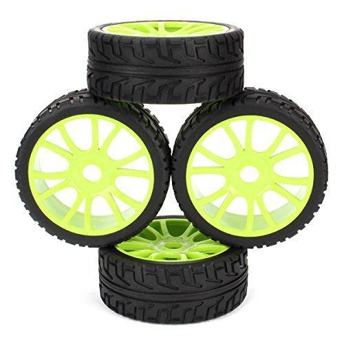 4PCS HSP RC 1/8 Off-Road RC Car Buggy Tyre 12 Spoke Hub Wheel Rims Grip Grain Tires 102mm OD 180047