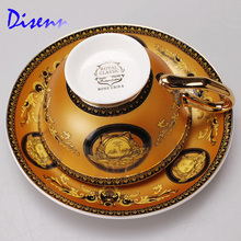 Yellow Mug Set with European royal classic Drinkware coffee and tea set bone china painting  Gold Rim Latte cup(China (Mainland))
