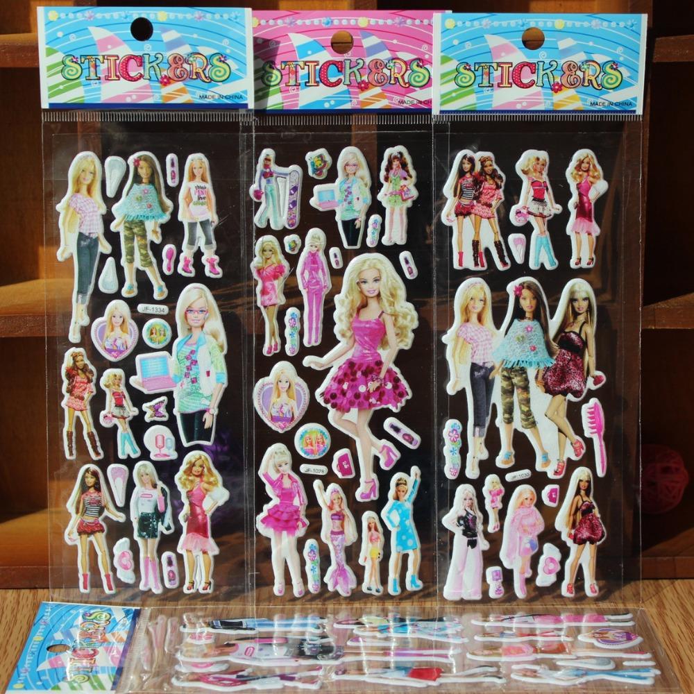 ^ 10PCS / lot Mixed cartoon bubble wall stickers 3D Barbie toys / children's cartoon bubble stickers decoration(China (Mainland))