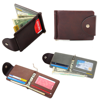 Excellent Quality New Men's Money Clip Leather Billfold Clamp For Money With Card Hold Luxury Men Wallets Free Shipping