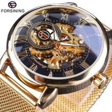 Forsining caso transparente 2017 moda 3d logotipo gravura ouro aço inoxidável masculino relógio mecânico marca superior esqueleto de luxo(China)