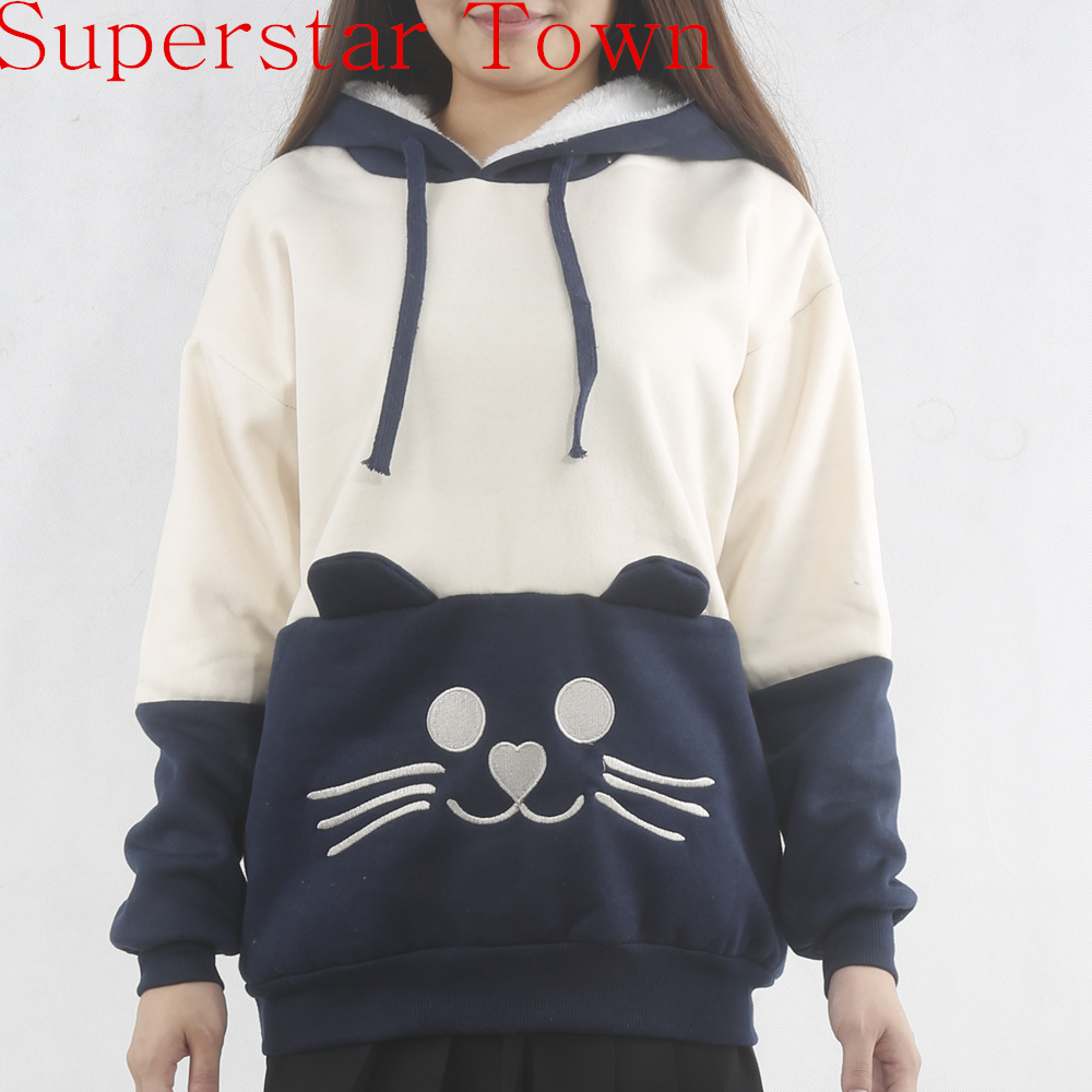 Japanese Mori Kawaii Girl Letter Hoodie Cat Face With Cute ...