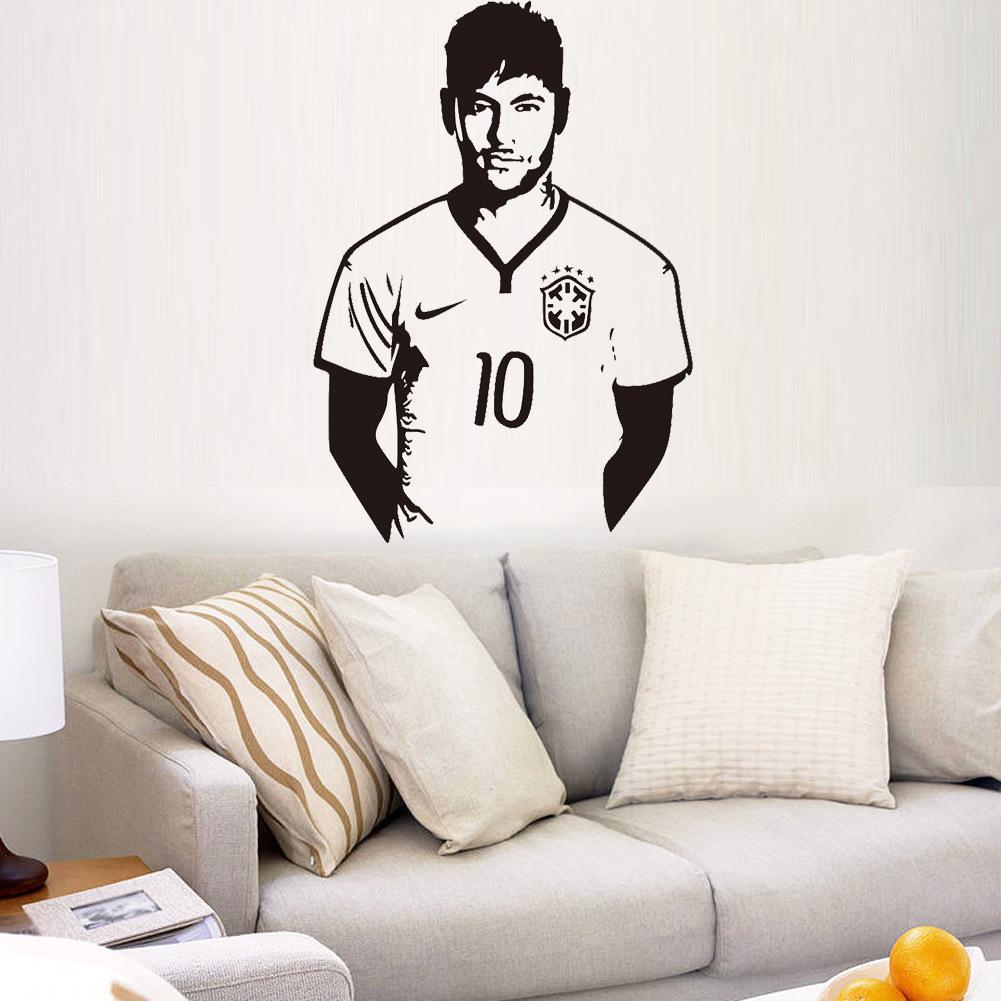 Art design cheap home decoration vinyl Neymar da Silva soccer wall sticker removable house decor famous football player decal(China (Mainland))