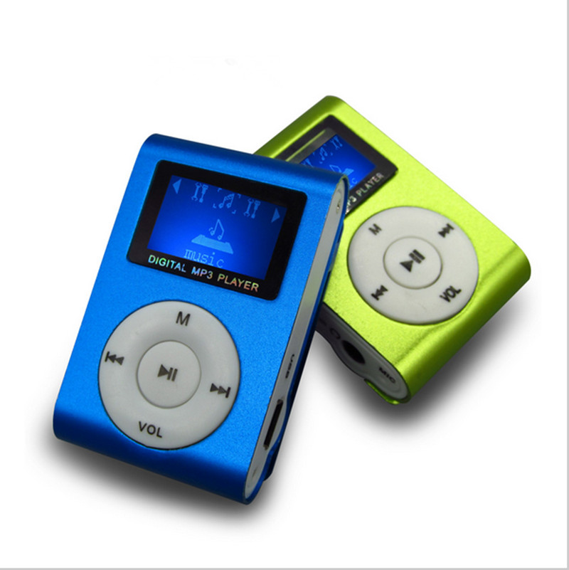 Free Shipping New Portable Music TF Player Mini LCD Screen Metal Clip Download Free Music MP3 Player With Micro TF/SD Card Slot(China (Mainland))