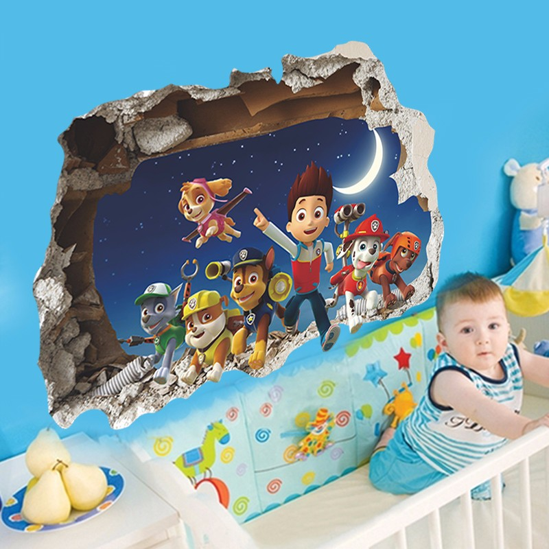 3D Cartoon Paw Patrol Snow Slide Wall Stickers Home Decor Kids Room Decoration PVC Diy Art Game Poster Paw Patrol