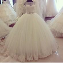 vestido de festa de casamento Cap Sleeve Lace Appliqued Rhinestones Crystal Sash Wedding Dress chinese store online 2016(China (Mainland))
