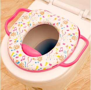 Baby Soft Padded Potty Training Toilet Seat With Handles Waterproof Toilet Seat Cover Mat baby sit children kids portable toilet(China (Mainland))