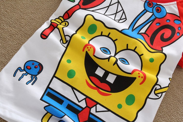 2016 summer Girls boys t-shirts Bob esponja Shopkins Children Baby Blouse next kids clothes cartoon cotton Tops&Tees Spongebob