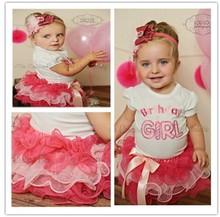 2014 2pcs set baby short sleeve Happy birthday t shirt +Bow tutu layered cake skirts girl summer clothing set(China (Mainland))