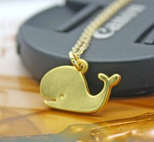 Dainty cute Tiny Whale Necklace Gold Whale charm necklaces Kawaii Pendant Nautical Animal Necklace women fine