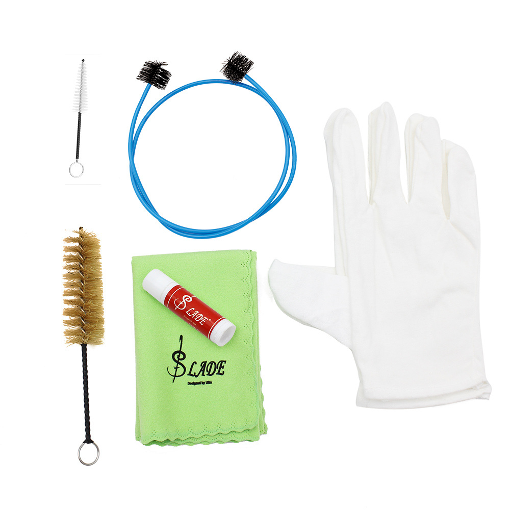 Hot Brasswind Instrument Trumpet Trombone Tuba Horn Cleaning Set Kit Tool with Cleaning Cloth Brush Cork Grease Gloves(China (Mainland))