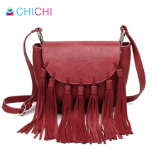 CHICHI Luxury High Quality Brands Retro Tassel Saddle Crossbody Bag For Women Fringe Red Ladies Hand Bags Leather Handbags Bolsa
