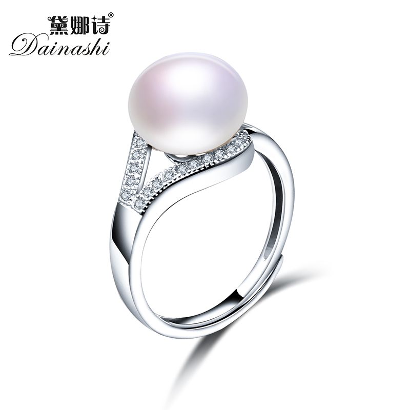 2017 New Trendy Pearl Jewelry Luxury Rings 100% Genuine Real Natural Freshwater Pearl Adjustable Ring For Mother Gift With Box(China (Mainland))